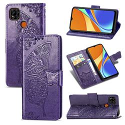 Embossing Mandala Flower Butterfly Leather Wallet Case for Xiaomi Redmi 9C - Dark Purple