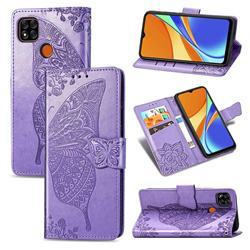 Embossing Mandala Flower Butterfly Leather Wallet Case for Xiaomi Redmi 9C - Light Purple