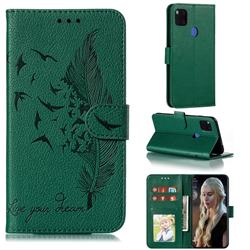 Intricate Embossing Lychee Feather Bird Leather Wallet Case for Xiaomi Redmi 9C - Green