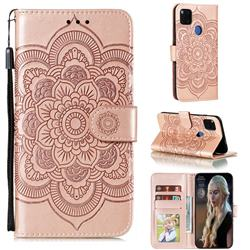 Intricate Embossing Datura Solar Leather Wallet Case for Xiaomi Redmi 9C - Rose Gold