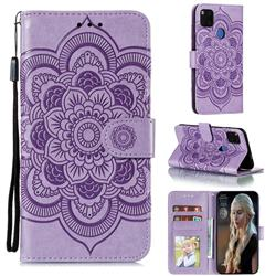 Intricate Embossing Datura Solar Leather Wallet Case for Xiaomi Redmi 9C - Purple