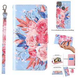 Rose Flower 3D Painted Leather Wallet Case for Xiaomi Redmi 9C