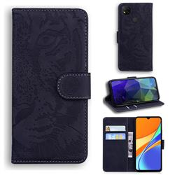 Intricate Embossing Tiger Face Leather Wallet Case for Xiaomi Redmi 9C - Black