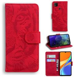 Intricate Embossing Tiger Face Leather Wallet Case for Xiaomi Redmi 9C - Red