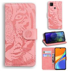 Intricate Embossing Tiger Face Leather Wallet Case for Xiaomi Redmi 9C - Pink