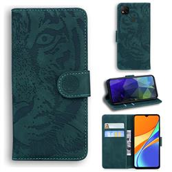 Intricate Embossing Tiger Face Leather Wallet Case for Xiaomi Redmi 9C - Green