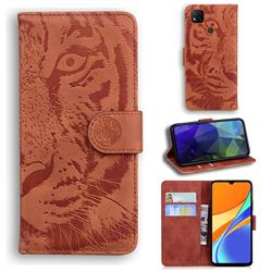 Intricate Embossing Tiger Face Leather Wallet Case for Xiaomi Redmi 9C - Brown