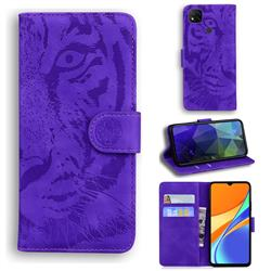 Intricate Embossing Tiger Face Leather Wallet Case for Xiaomi Redmi 9C - Purple