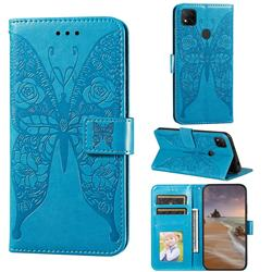 Intricate Embossing Rose Flower Butterfly Leather Wallet Case for Xiaomi Redmi 9C - Blue