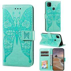 Intricate Embossing Rose Flower Butterfly Leather Wallet Case for Xiaomi Redmi 9C - Green