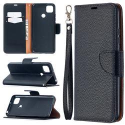 Classic Luxury Litchi Leather Phone Wallet Case for Xiaomi Redmi 9C - Black