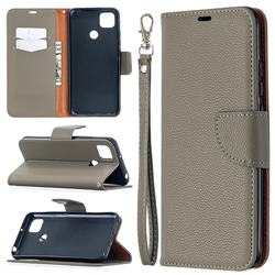 Classic Luxury Litchi Leather Phone Wallet Case for Xiaomi Redmi 9C - Gray