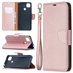 Classic Luxury Litchi Leather Phone Wallet Case for Xiaomi Redmi 9C - Golden