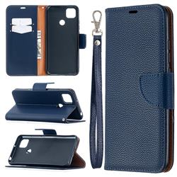 Classic Luxury Litchi Leather Phone Wallet Case for Xiaomi Redmi 9C - Blue