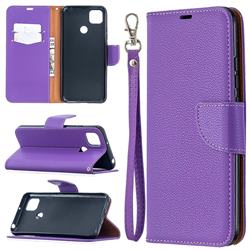 Classic Luxury Litchi Leather Phone Wallet Case for Xiaomi Redmi 9C - Purple