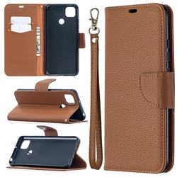 Classic Luxury Litchi Leather Phone Wallet Case for Xiaomi Redmi 9C - Brown