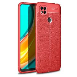 Luxury Auto Focus Litchi Texture Silicone TPU Back Cover for Xiaomi Redmi 9C - Red
