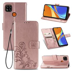 Embossing Imprint Four-Leaf Clover Leather Wallet Case for Xiaomi Redmi 9C - Rose Gold