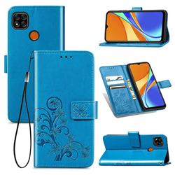 Embossing Imprint Four-Leaf Clover Leather Wallet Case for Xiaomi Redmi 9C - Blue