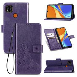 Embossing Imprint Four-Leaf Clover Leather Wallet Case for Xiaomi Redmi 9C - Purple