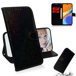 Laser Circle Shining Leather Wallet Phone Case for Xiaomi Redmi 9C - Black