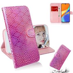 Laser Circle Shining Leather Wallet Phone Case for Xiaomi Redmi 9C - Pink