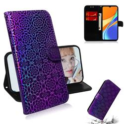 Laser Circle Shining Leather Wallet Phone Case for Xiaomi Redmi 9C - Purple