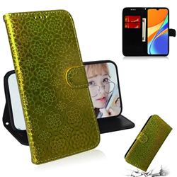 Laser Circle Shining Leather Wallet Phone Case for Xiaomi Redmi 9C - Golden