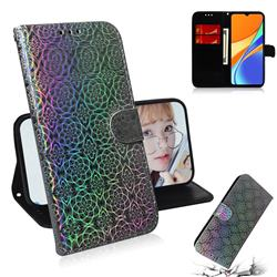Laser Circle Shining Leather Wallet Phone Case for Xiaomi Redmi 9C - Silver