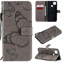 Embossing 3D Butterfly Leather Wallet Case for Xiaomi Redmi 9C - Gray