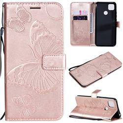 Embossing 3D Butterfly Leather Wallet Case for Xiaomi Redmi 9C - Rose Gold