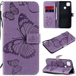 Embossing 3D Butterfly Leather Wallet Case for Xiaomi Redmi 9C - Purple
