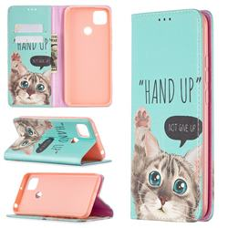 Hand Up Cat Slim Magnetic Attraction Wallet Flip Cover for Xiaomi Redmi 9C