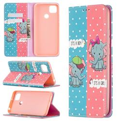 Elephant Boy and Girl Slim Magnetic Attraction Wallet Flip Cover for Xiaomi Redmi 9C