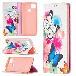 Flying Butterflies Slim Magnetic Attraction Wallet Flip Cover for Xiaomi Redmi 9C