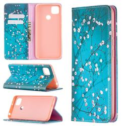 Plum Blossom Slim Magnetic Attraction Wallet Flip Cover for Xiaomi Redmi 9C
