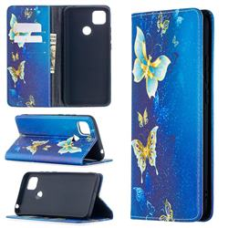 Gold Butterfly Slim Magnetic Attraction Wallet Flip Cover for Xiaomi Redmi 9C