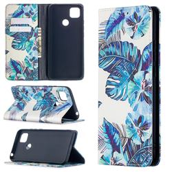 Blue Leaf Slim Magnetic Attraction Wallet Flip Cover for Xiaomi Redmi 9C