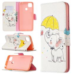 Umbrella Elephant Leather Wallet Case for Xiaomi Redmi 9C