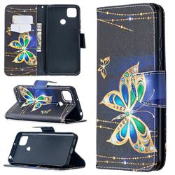Golden Shining Butterfly Leather Wallet Case for Xiaomi Redmi 9C