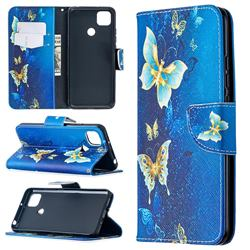 Golden Butterflies Leather Wallet Case for Xiaomi Redmi 9C