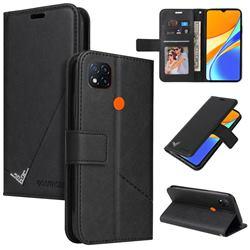 GQ.UTROBE Right Angle Silver Pendant Leather Wallet Phone Case for Xiaomi Redmi 9C - Black
