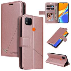 GQ.UTROBE Right Angle Silver Pendant Leather Wallet Phone Case for Xiaomi Redmi 9C - Rose Gold