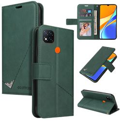 GQ.UTROBE Right Angle Silver Pendant Leather Wallet Phone Case for Xiaomi Redmi 9C - Green