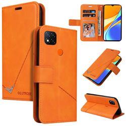 GQ.UTROBE Right Angle Silver Pendant Leather Wallet Phone Case for Xiaomi Redmi 9C - Orange