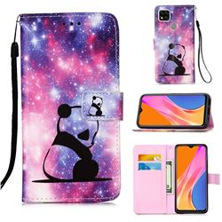 Panda Baby Matte Leather Wallet Phone Case for Xiaomi Redmi 9C