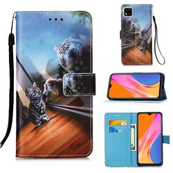 Mirror Cat Matte Leather Wallet Phone Case for Xiaomi Redmi 9C