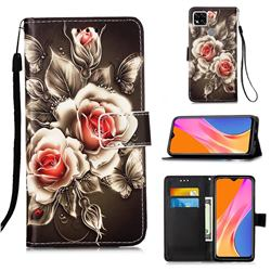Black Rose Matte Leather Wallet Phone Case for Xiaomi Redmi 9C