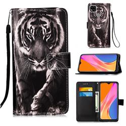 Black and White Tiger Matte Leather Wallet Phone Case for Xiaomi Redmi 9C