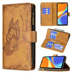 Binfen Color Imprint Vivid Butterfly Buckle Zipper Multi-function Leather Phone Wallet for Xiaomi Redmi 9C - Brown